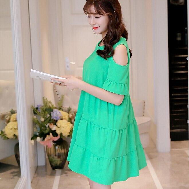 d85d21e6c25 Summer dress women clothing cute Dew shoulder short sleeve bodycon dress  Korean patchwork show thin high waist dress Vestidos