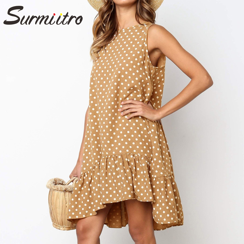 Surmiitro Plus Size Dot Print Summer Dress 2019 Spring Ruffles Midi Knee Length Beach Sundress Female Sleeveless Big Party Dress