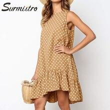 Женская короткая пляжная туника с запахом Surmiitro, летнее мини-платье большого размера с в горошек, сарафан для женщин на лето