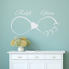 Custom Family Names Wall Decals Infinity Sign Heart Symbol Decal Personalized Vinyl Sticker Bedroom Home Decor Wedding Gift LV12