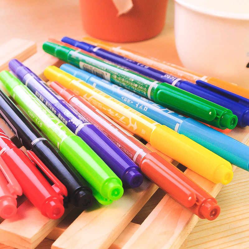 Двухсторонний маркер, масляный маркер, мелкий цвет, грубая линия, карандаш, CD, искусство, живопись, маленькая двойная головка, 12 цветов, многоцветный