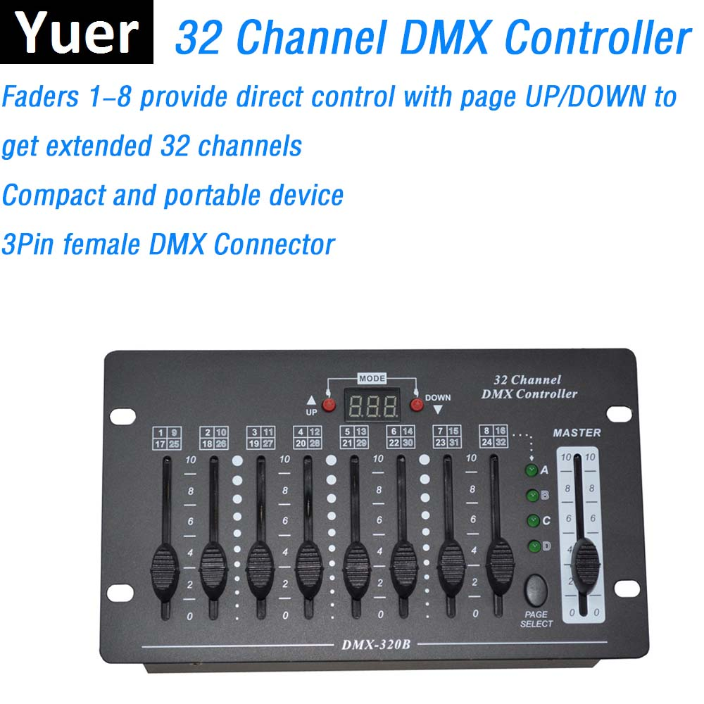 New 32 Channel Simple DMX Controller Stage Lighting Dj Equipments DMX Console Good For LED Par Moving Head Lights Free Shipping 2xlot big discount 6 channel simple dmx controller for stage lighting 512 dmx console dj controller equipments free shipping