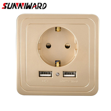 Wall Socket EU Wall Power Plug Socket with USB Outlet Glass 2a Dual USB Charger Plug Wall Outlet 16a 2100ma Electrical Wall Power Socket