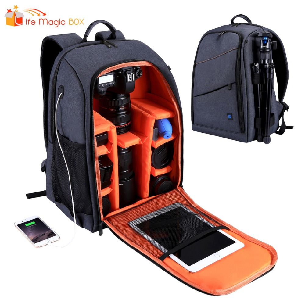 Camera Backpack Waterproof Photography Bag Large Capacity with Charging Headphone Hole Dslr Accessories