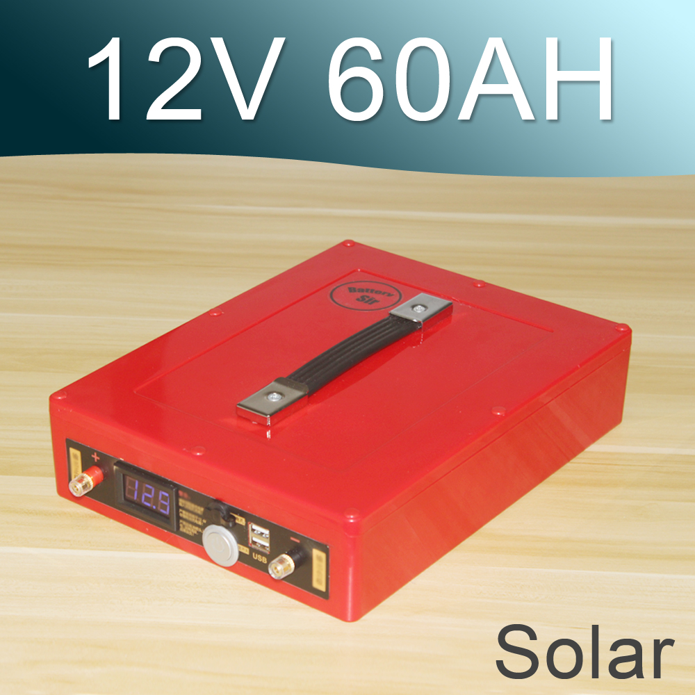 12V 60AH Solar Lithium ion Battery Rechargeable Li ion battery With USB Handle Voltage display solar charger special single section li ion battery charging board lithium polymer battery