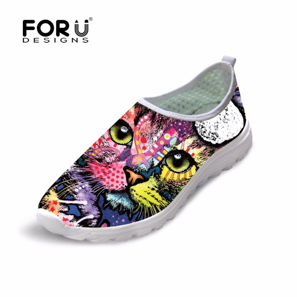 FORUDESIGNS Colorful Animal Cat Dog Printed Women Spring Summer Mesh Shoes Flats Women Breathable Comfortable Loafers Flats Shoe forudesigns women casual sneaker cartoon cute nurse printed flats fashion women s summer comfortable breathable girls flat shoes