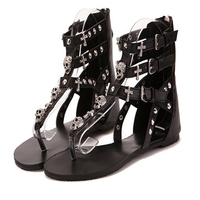 2016 Cross Skull Flat Sandals Boots Women Summer Shoes Roman Style Fashion Sandals Shoes Women