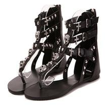 2016 Cross Skull Flat Sandals Women Summer Shoes Roman Style Fashion Sandals Shoes Women Flat Sandals Slippers Flip Flops
