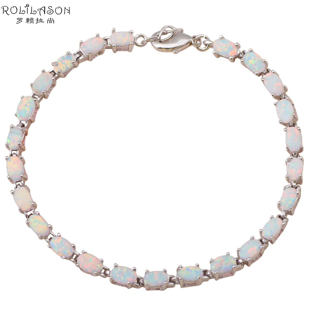 Romantic style Bracelets Wholesale & Retail oval White fire opal Stamped Silver Stamped party gifts OB031