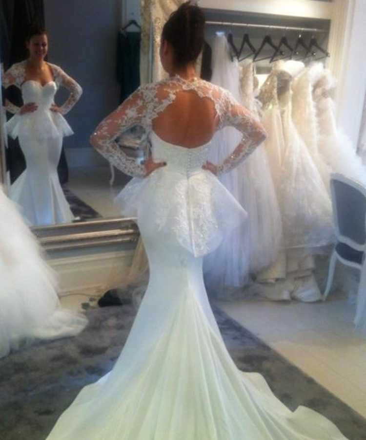 Mermaid Wedding Dresses With Long Trains : Fitted wedding dresses buy cheap long sleeve