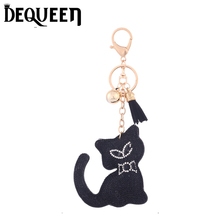 Cute Cat Key Chains Animal Shape Jewelry Rhinestone Keychain Women Keyring Car Purse Pendant 1PCS/LOT