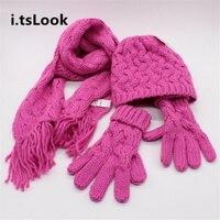 Kids 2 6 Ages Scarves Hats Gloves Set Girls Winter Warm Knitted Beanie Hats Children Wool