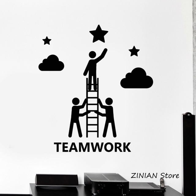 teamwork office decor wall decals company stickers mural creative