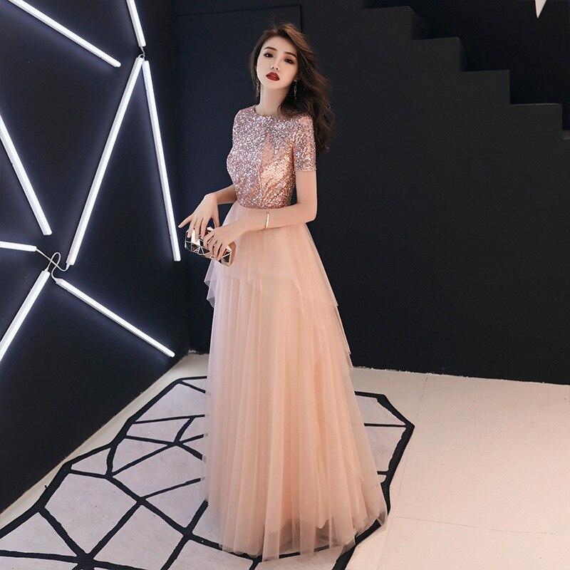 4fbad9a84b To YiiYa suknie wieczorowe różowy Shinig cekinami warstwowych konstrukcji  sukienki na przyjęcie z krótkim rękawem O