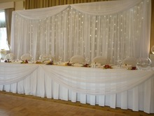 20ft*10ft White Wedding backdrop wih beautiful swags With LED lights Starlight backdrop
