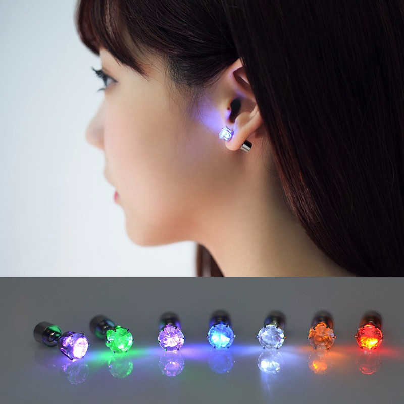 1 Pair Light Up LED Unisex Earrings Studs Flashing Blinking Stainless Steel Earrings Studs Dance Party Accessories 9 Colors