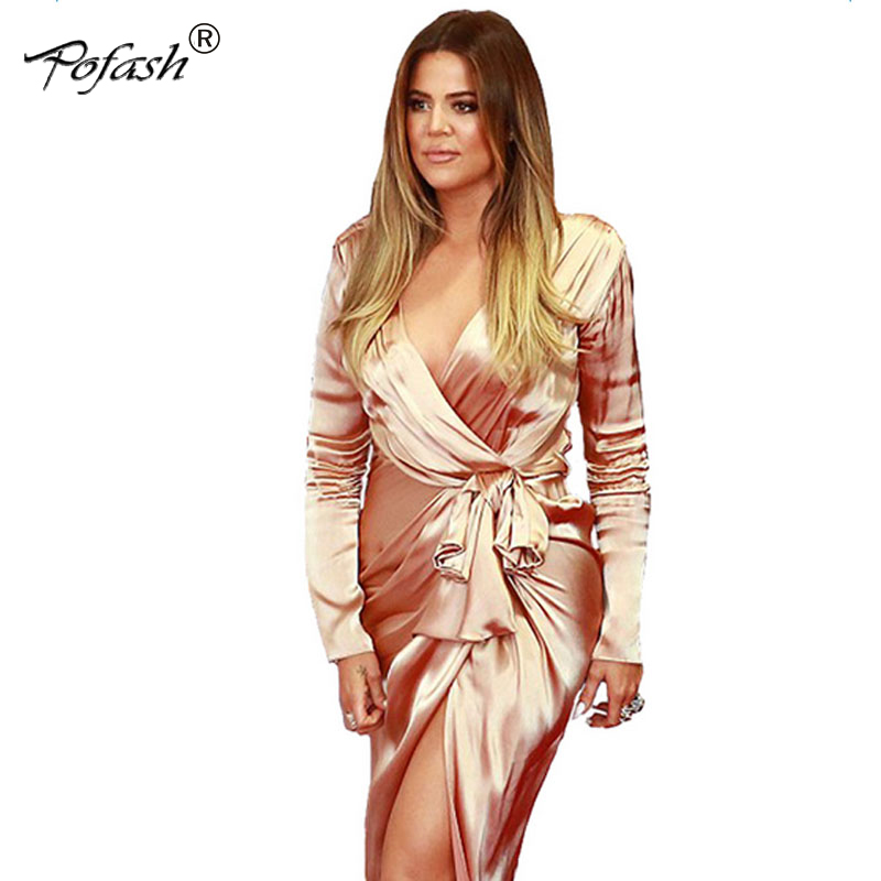 Pofash 2017 Hot Sale Roter Teppich Long Sleeve Nude Satin -6103
