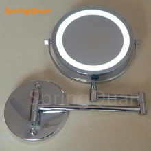 SpringQuan 7 inch metal fashion makeup mirror Battery LED Bathroom Wall Mirror 10X magnify  All-round Cosmetic mirror  2-F springquan 8 inch led mirror with lamp 2 face european fashion collapsible wall mirror bathroom mirror flat screen hd 3x