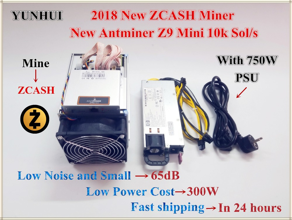 Корабль в 24 часов Новый ZCASH Шахтер Antminer Z9 мини 10 К Sol/s с 750 Вт PSU Equihash шахтер горнодобывающей ZEN ZEC BTG, innosilicon A9