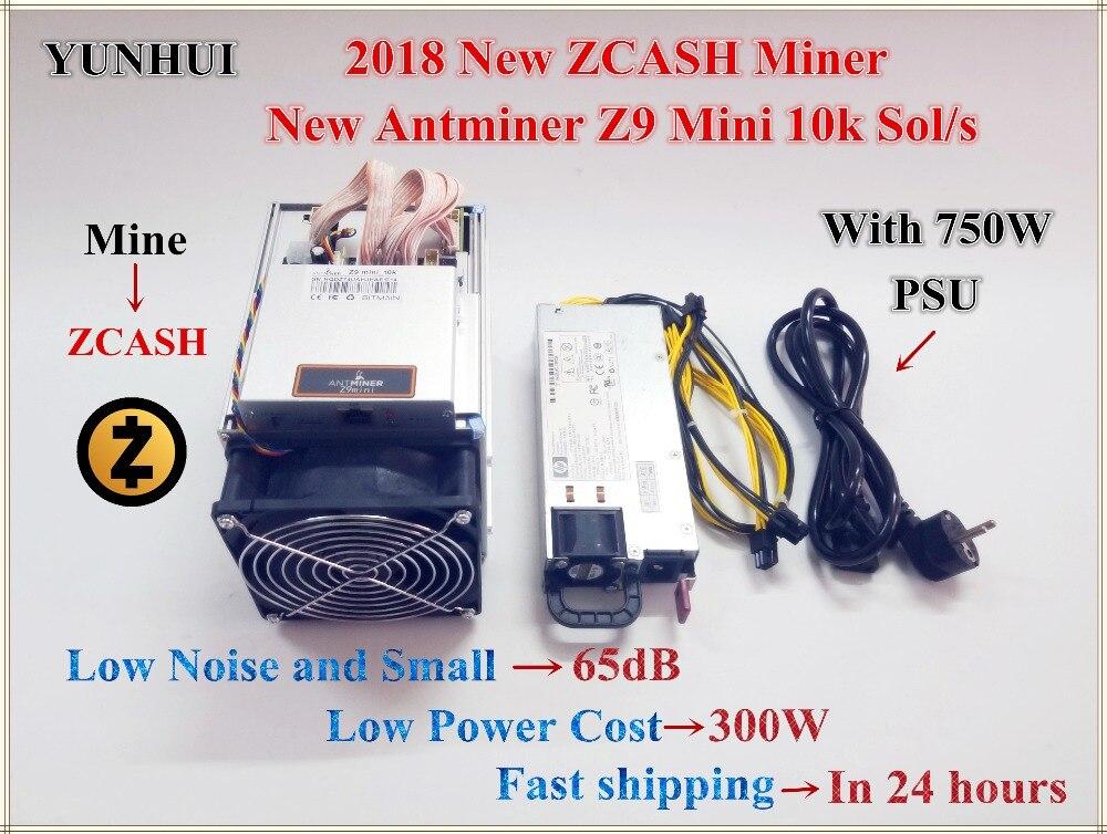 Envío Gratis nuevo Antminer Z9 Mini 10 k Sol/s con 750 W PSU ZCASH Equihash minero minera ZEN ZEC BTG mejor que antminer S9 Z9
