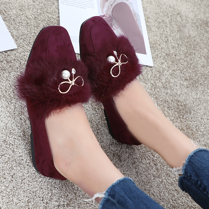 Femme De rose coréen Rouge Femmes La Strass Noir Hyoma Plus Nouvelle vin Taille Rose Appartements Mujer Zapatos Chaussures Noir Fourrure Perle Confortable d8EqRxdCw