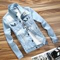 2016 Otoño Nueva Moda Chaqueta Hombres Apenada Ripped Denim Slim Fit Stretch Jean Chaqueta de Ropa de la Marca de Color Azul Tamaño M 3xl