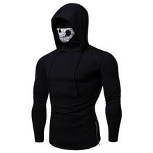 למתוח כושר למבוגרים גברים Ninja סלעית הסווטשרט סווטשירט Ghost מסכת Hoody הסווטשרט נוער Slim בגדים