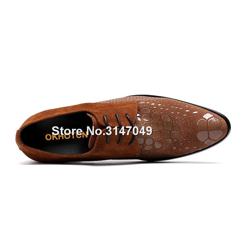 Zapatos vermelho Pé Okhotcn Do marrom Vaca Sapatas Vestido Couro Leather Lace Sapatos Up Imprimir De Men Preto Patent Pontas Oxford Homens Hombre Moda Novos For Dedo Vinho Marrom Dos black Shoes TqxZwOBWCE