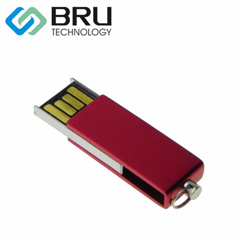 BRU 1GB 2GB USB Flash Drive Mini Metal Pendrive Swivel USB2.0 Stick Gift Custom Logo Laser word Engrave design Print Pattern