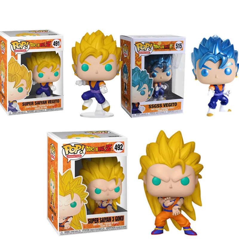 FUNKO POP Anime Dragon Ball SUPER SAIYAN GOKU & SSGSS 3 VEGITO Action Figure Coleção Modelo Brinquedos para As Crianças de Aniversário presente