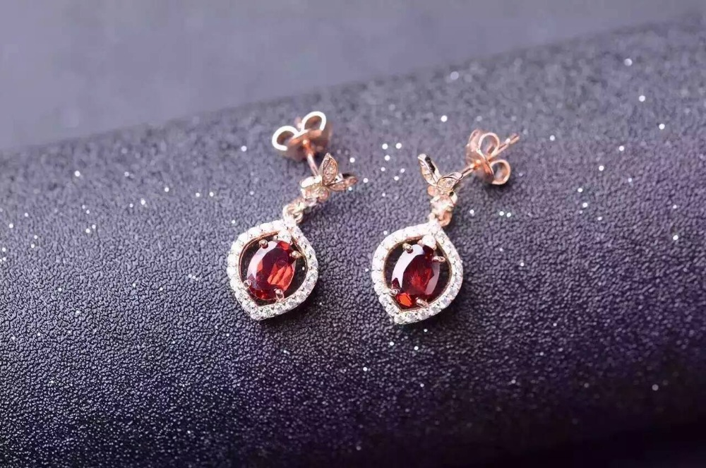 natural red garnet gem drop earrings S925 Natural gemstone earring women personality water drop butterfly Earrings engagement artificial gem rhinestone drop earrings