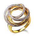 DC1989 Twisted Design Women Elegant Engagement Wedding Rings Simulated Cubic Zircon Paved Rhodium and Gold Plated Sizes 7 to 9