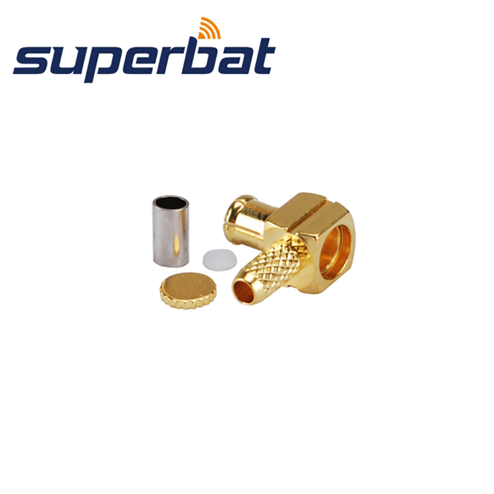 Superbat 10Pcs RF 50 Ohm MCX Crimp Plug Male Right Angle Connector For Cable LMR100,RG174,RG316 Cable Mount