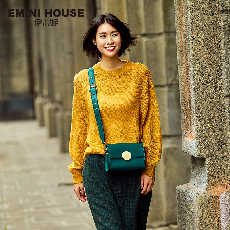 EMINI HOUSE Round Lock Flap Bags Split Leather Women Shoulder Bag Wide Strap Luxury Brand Crossbody Bags For Women Messenger Bag emini house indian style bag women messenger bags split leather crossbody bags for women shoulder bag chic chain original design