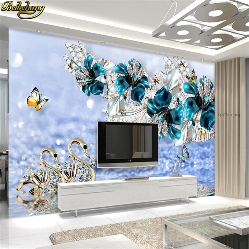 Beibehang Custom Photo Wallpaper Mural Sticker Luxury Swan Blue Flower Watermark Jewelery TV Wall Background Papel De Parede