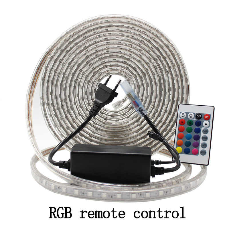 Listwy rgb led zestaw oświetleniowy z pilota zdalnego sterowania możliwość przyciemniania taśma led wodoodporna AC220V SMD 5050 wstęga led elastyczne paski dla