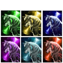 Complete 5D DIY Diamond Painting Animal Wolf Pattern Cross Stitch Round  Mosaic Full Star Sky Wolves