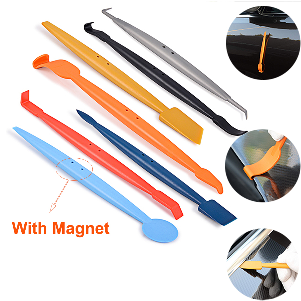 EHDIS 7PCS Vinyl Car Wrap Micro Magnetic Squeegee Scraper Kit Carbon Fiber Film Sticker Car Wrapping Foil Magnet Stick Tint Tool