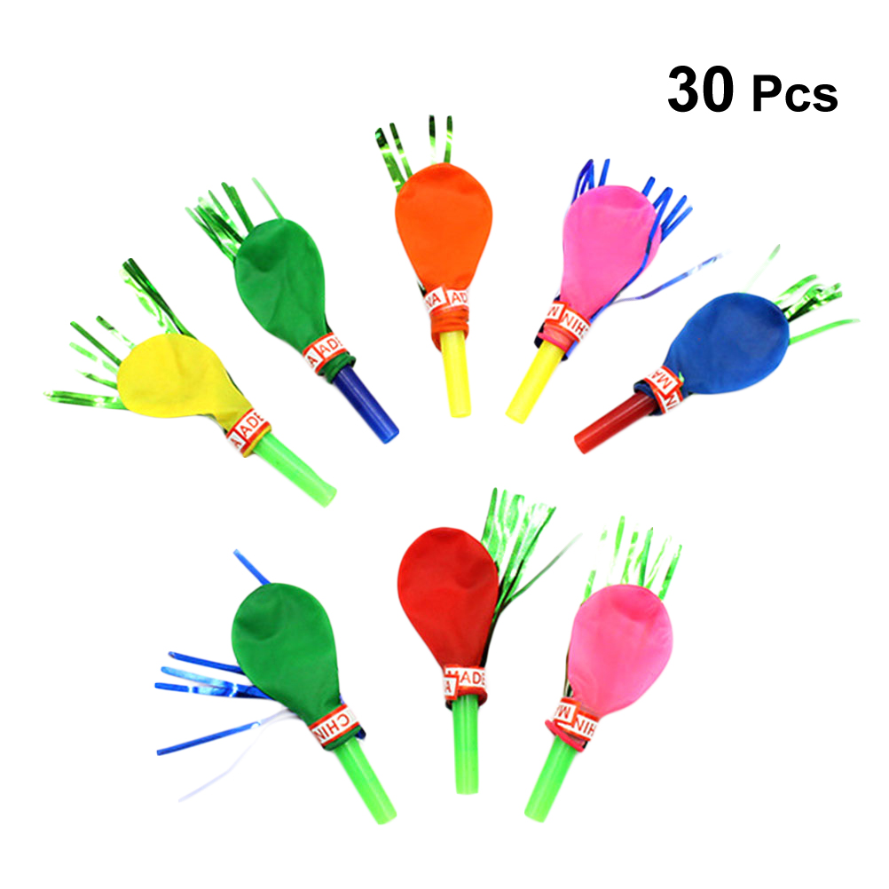 30 Pcs Blow Outs Balloon Musical Fringed Glitter Whistles Blowouts Toys For Birthday Christmas Holiday Party
