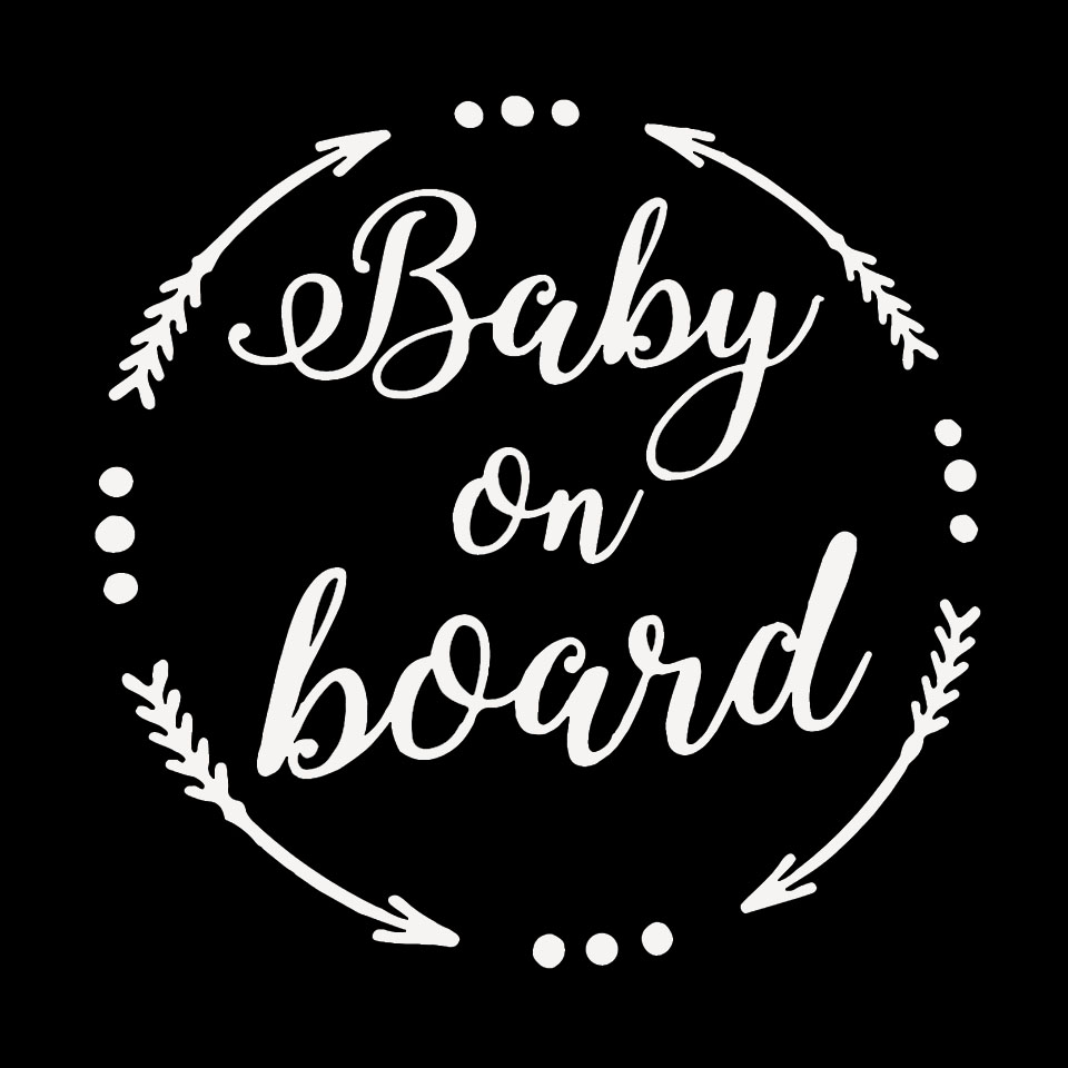 15.8CM15.6CM BABY ON BOARD Baby In The Car Stickers Warning Vinyl Decoration Home Sticker BlackSilverLaser  (3)
