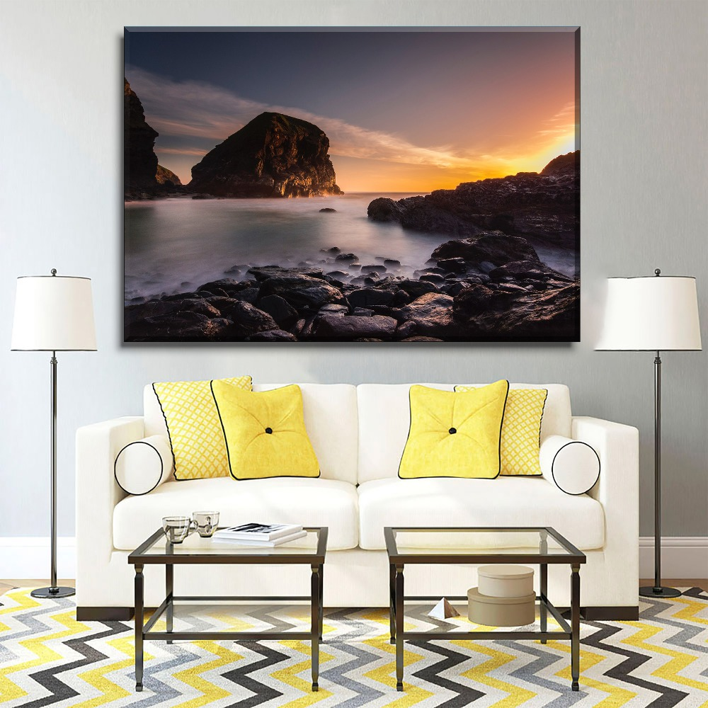 Dusk Clouds Beach Rock Painting 1 Piece Type Home Decorative Living Room Wall Art Modern Canvas HD Print Poster Decor Framework in Painting Calligraphy from Home Garden