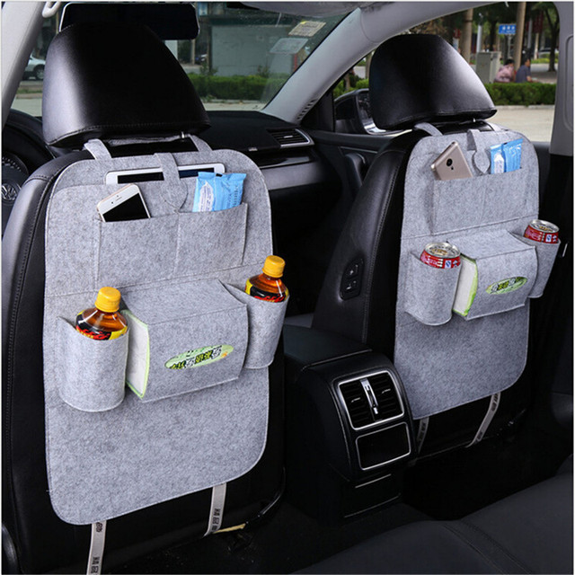 2017 Multi-functional Car Back Seat Storage Felt fabric Collection Bag Hanging bag Car Chair Back Back Seat Bag