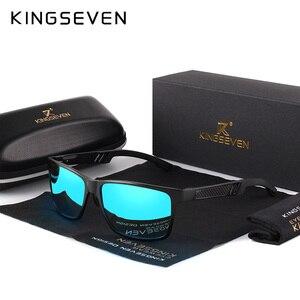 KINGSEVEN 2019 Aluminum Square Men/Women Polarized Coating Mirror Sun GlassesEyewear Sunglasses For Men(China)