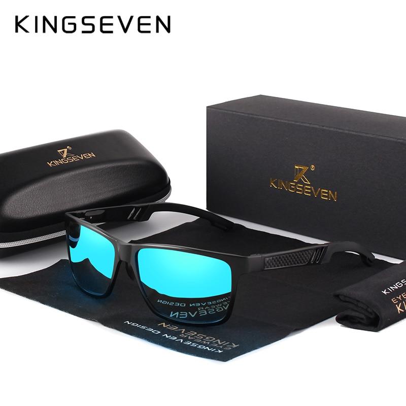 KINGSEVEN Quadrado De Alumínio 2019 Homens/Mulheres GlassesEyewear Revestimento Polarizada óculos de Sol Espelho Óculos De Sol Para Homens