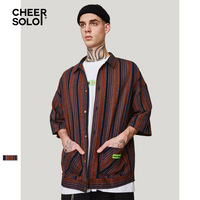 CheerSolo Cotton Linen Shirts Men Summer Short Sleeve Ethnic Vintage Shirt Men Fashions 2019 Clothes