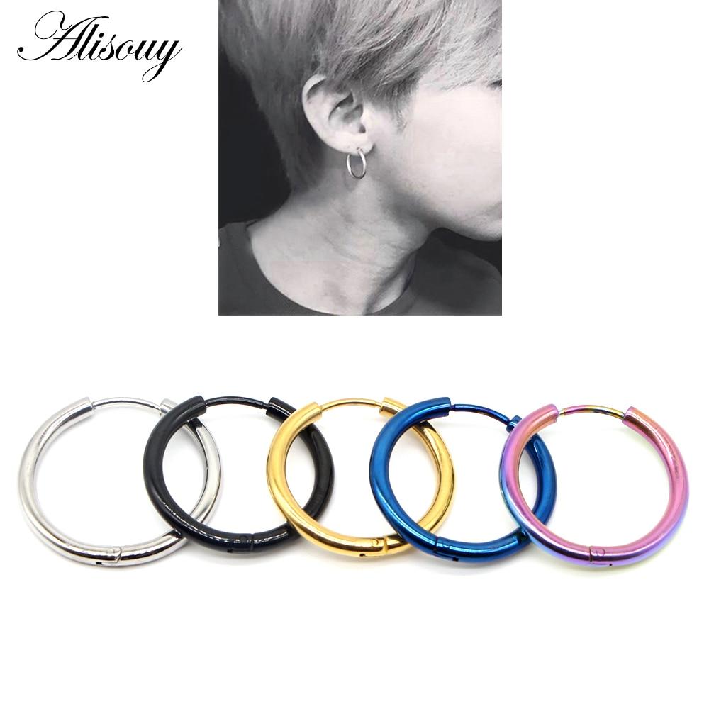 Stainless Steel 4 Color Fuel Gauge Circle Stud Earrings pair