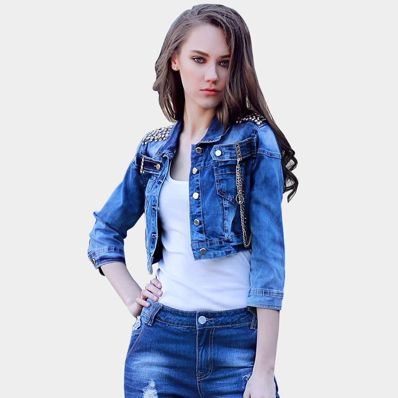 Denim Jacket For Women Spring And Autumn 2016 Jacket Blouson Femme Womens  Bolero Turn Down Collar Fashion Slim Coat Chains Blue-in Basic Jackets from  ... 123f4245ca14
