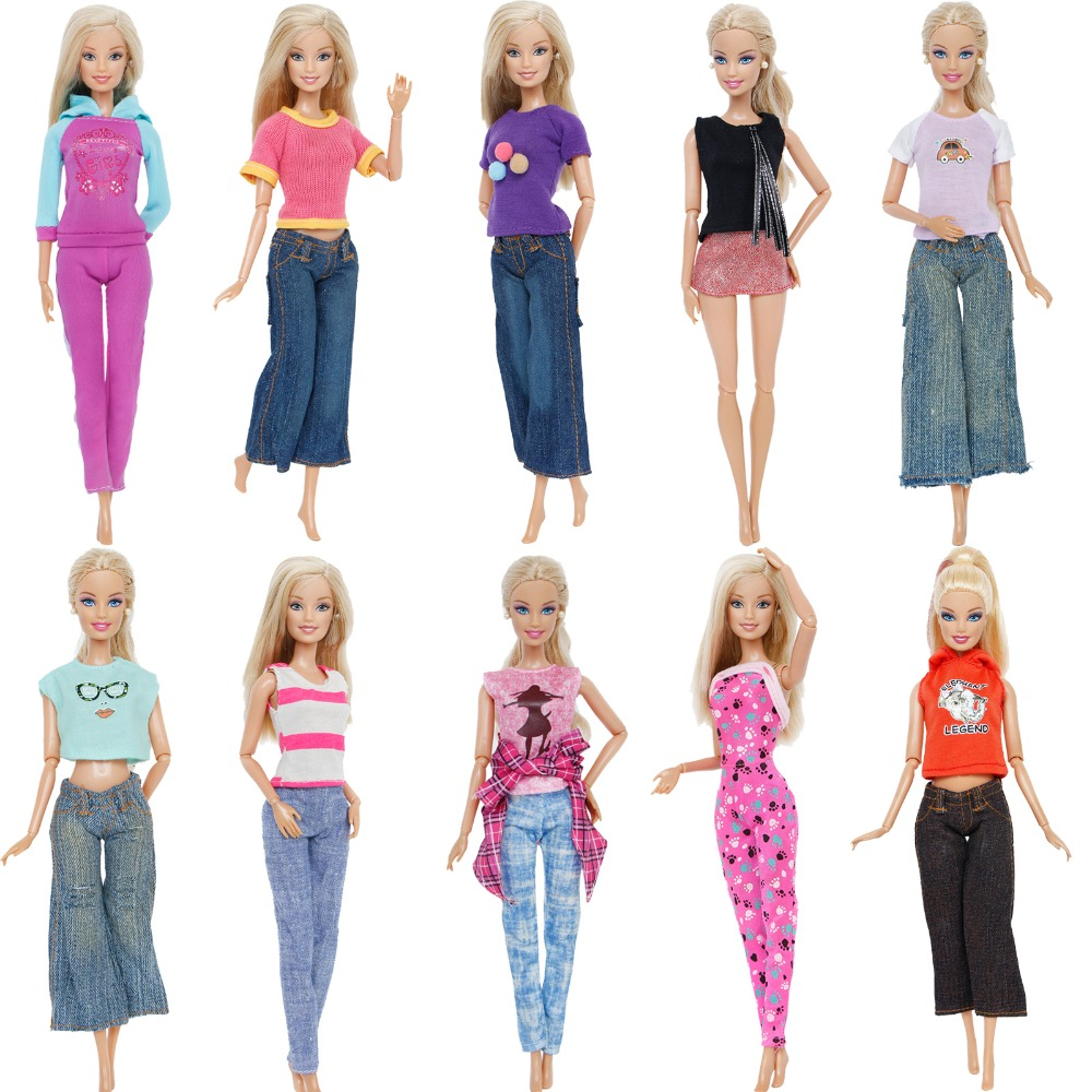 High Quality Fashion Outfit Mixed Style T-Shirt Blouse Sexy Tops Pants Jeans Clothes For Barbie Doll 12'' Accessories Kids