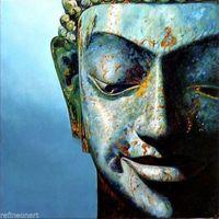 Handmade Buddha Oil Painting on Canvas Akkordha