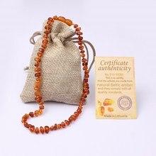 Envío Gratis Natural Certificado Joyería Hecha A Mano de Perlas de Ámbar Báltico Color Cognac Báltico Ámbar Dentición Del Bebé Collar